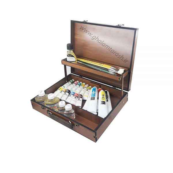 جعبه چوبی رنگ روغن طبقه ای + یک پالت چوبی