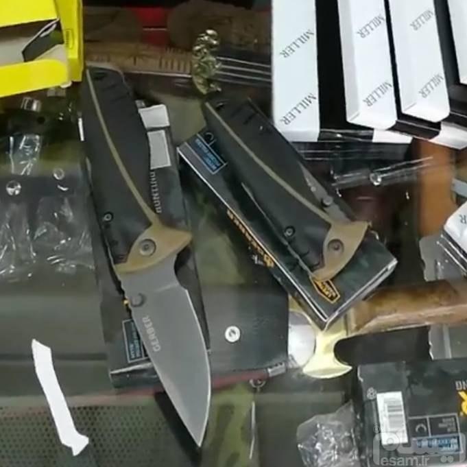 یکعدد چاقو شکاری گربر اصل | تعداد محدود تیغه ضد زنگ و محکم لبه نمیده رنگ ثابت ضامن دار بسیار عالی
