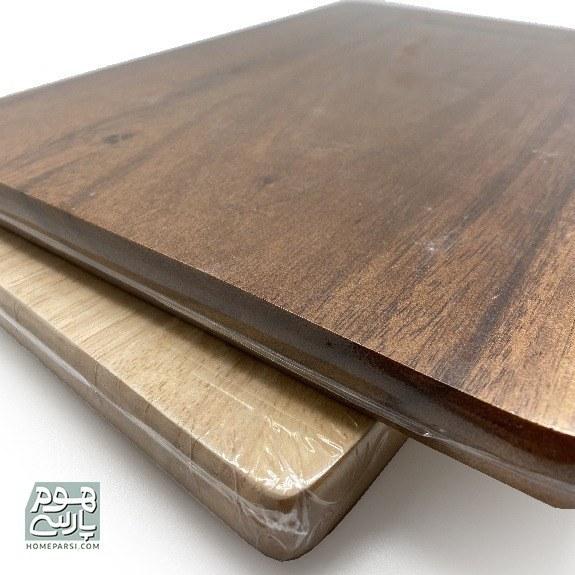 تصویر تخته گوشت دسته چوبی قهوه ای