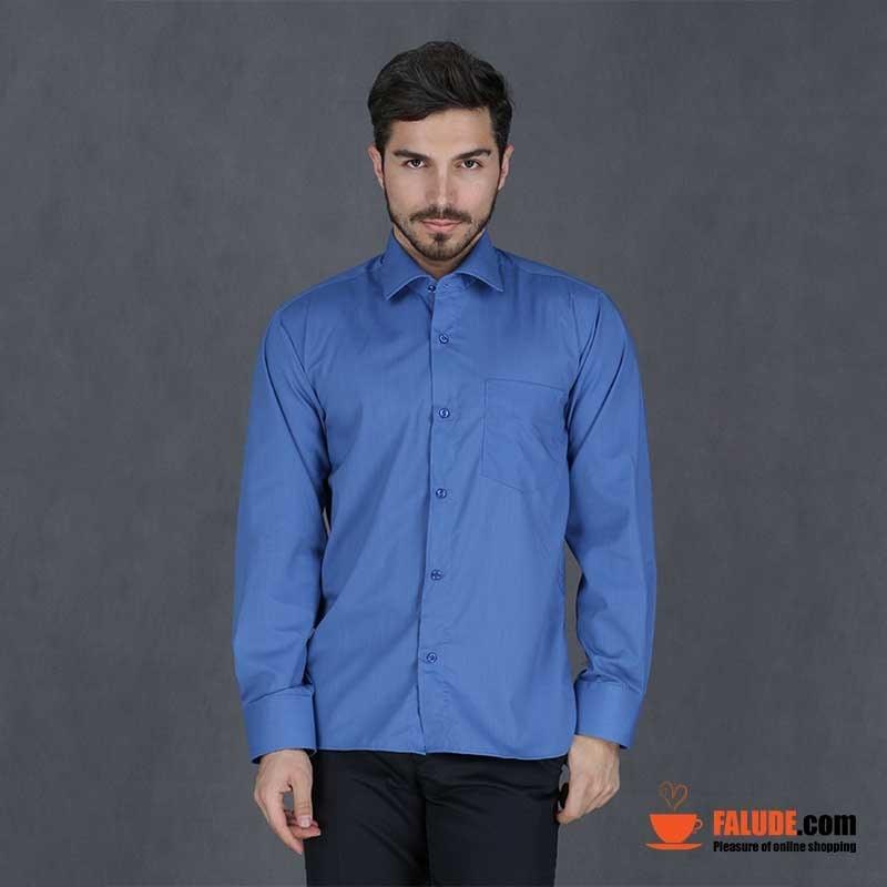 پیراهن تترون مردانه آستین بلند آبی کاربنی هجرت  