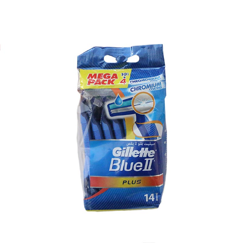 تصویر خودتراش ژیلت مدل Blue 2 plus بسته 14 عددی Gillette Blue 2 Plus Disposible Blade Pack Of 14
