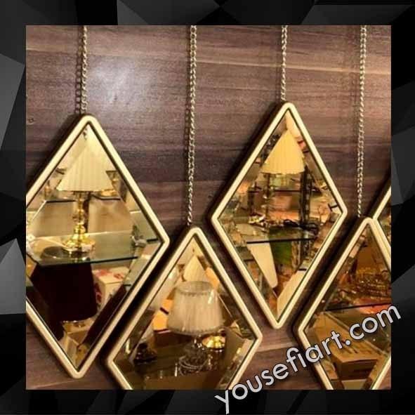 عکس آینه لوزی زنجیردار طلایی 5 عددی  اینه-لوزی-زنجیردار-طلایی-5-عددی