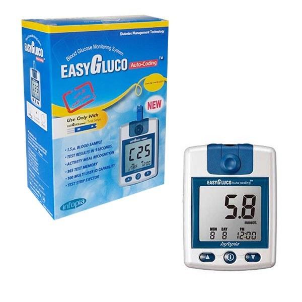 تصویر دستگاه تست قند خون ایزی گلوکو ( easy gluco ) + یک بسته نوار تست ۵۰ عددی