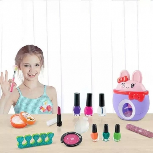 تصویر ست آرایشی و استمپر ناخن کودک طرح خرگوش بنفش