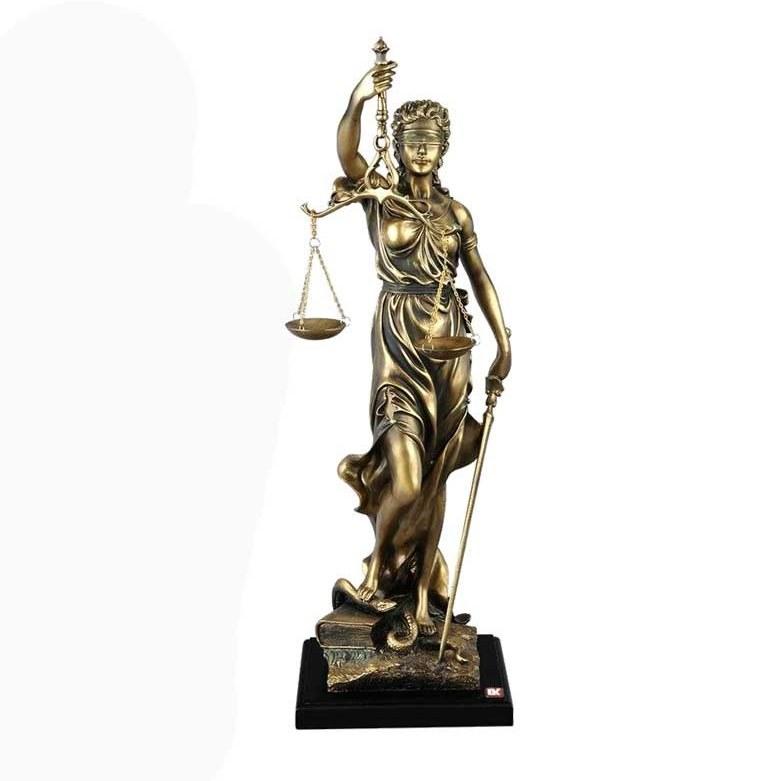 مجسمه دکوراتیو عدالت برنز متوسط گلدکیش مدل 4611