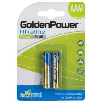 باتری نیم قلمی گلدن پاور مدل Power P Plus US بسته 2 عددی