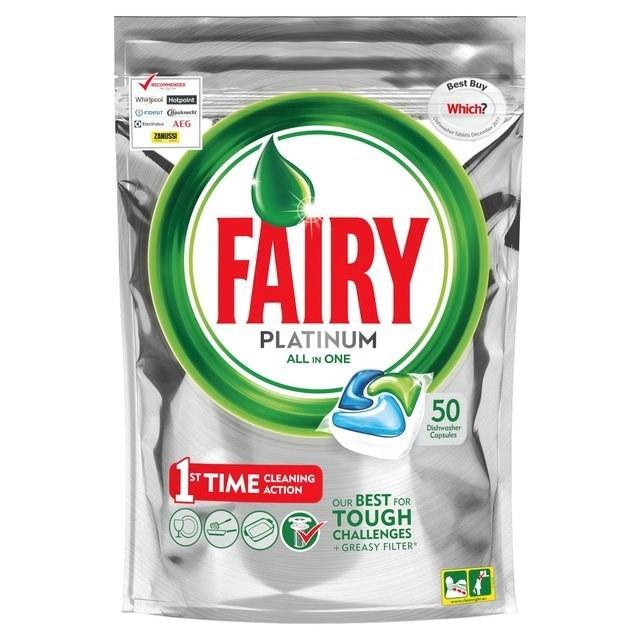 تصویر قرص ماشین ظرفشویی فیری Platinum بسته ۵۰ عددی Fairy
