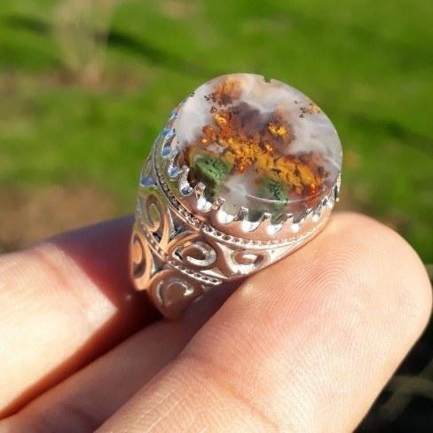 انگشتر نقره عقیق شجر فوق العاده منظره پاییزی طبیعی |
