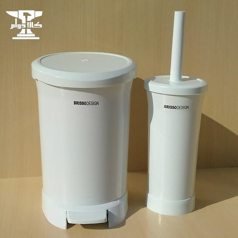 تصویر سطل و فرچه پدالی بریسو دیزاین با رنگ سفید