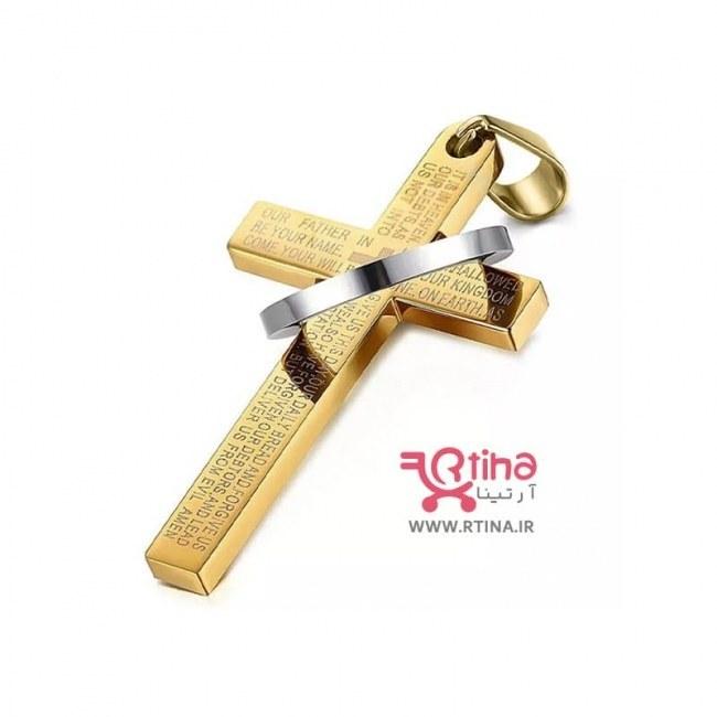 تصویر گردنبند صلیب زنانه /مردانه مهره ای +زنجیر ساده