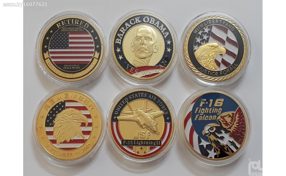 مجموعه سکه های رنگی یادبودی آمریکا | قطر سکه ها 40 میلیمتر - همراه با کپسول