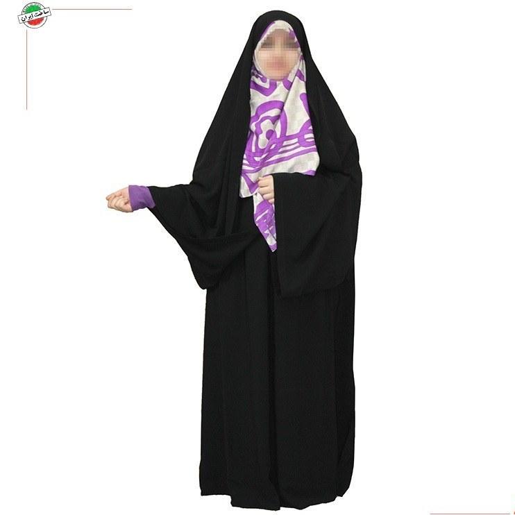 چادر کمری قجری دستک کوتاه با پارچه چادر مشکی حریراسود ایرانی |