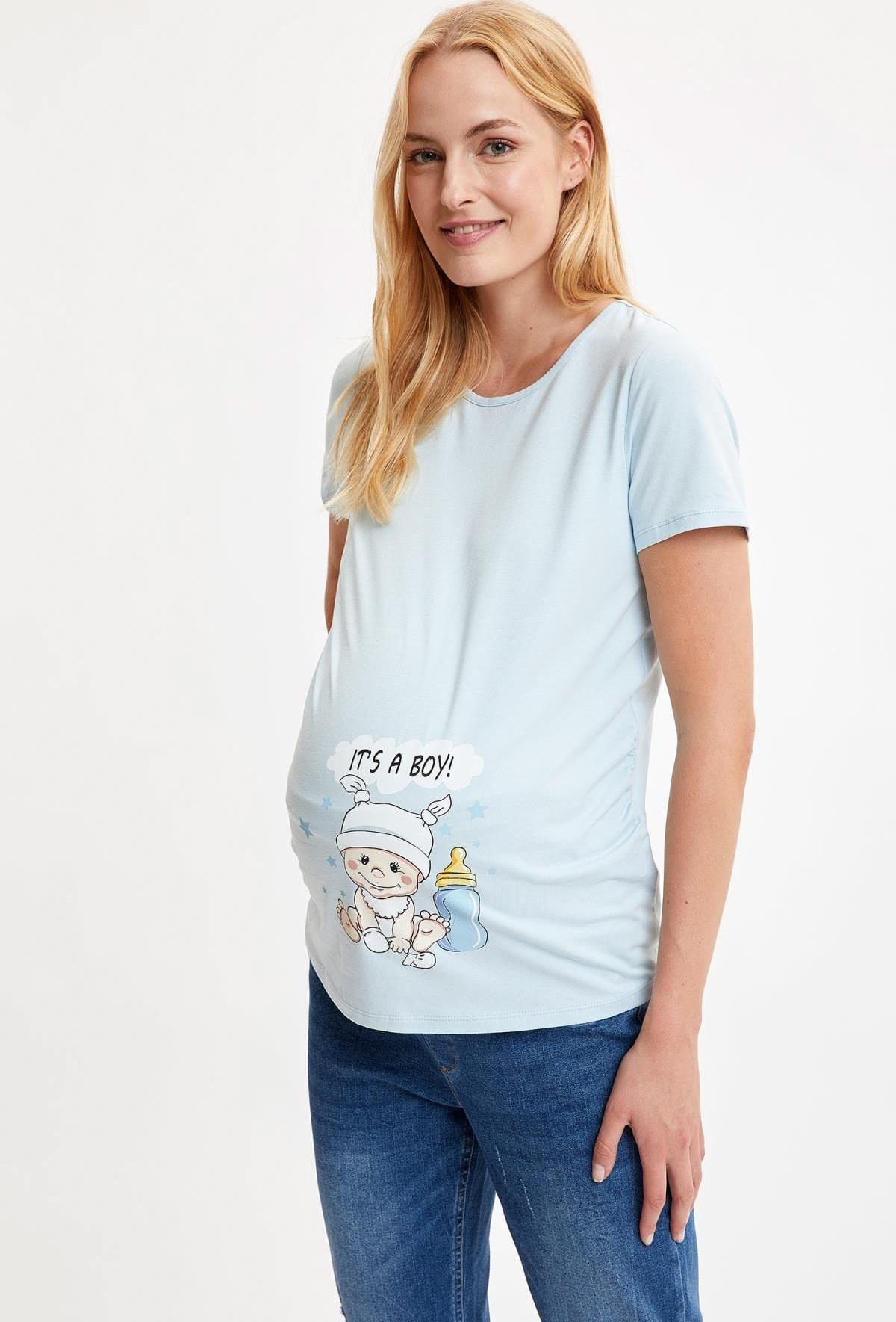 تصویر لباس بالاتنه حاملگی چاپ زنانه آستین کوتاه طرحدار آبی چیندار برند Defacto کد 1617025966
