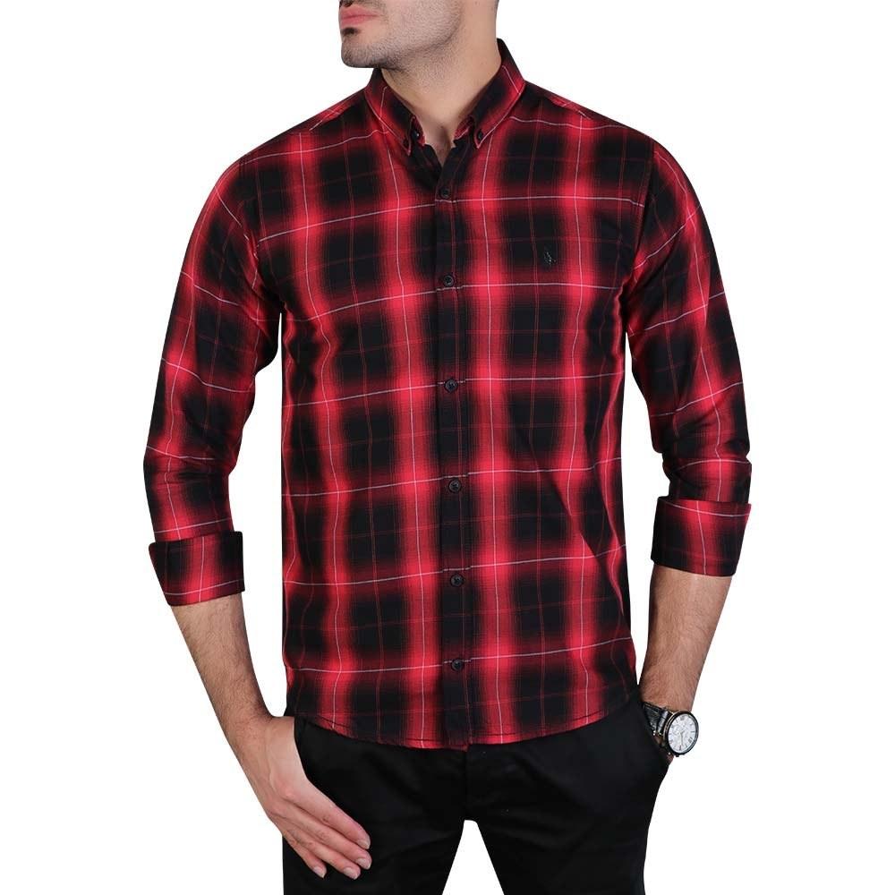 پیراهن مردانه چهارخانه آستین بلند قرمز مشکی پولو