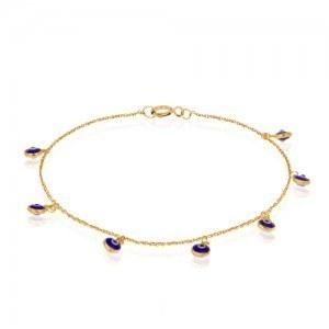 دستبند ظریف طلا با 7 آویز چشم و نظر | دستبند طلا زنانه با آویزهای چشم نظر کد cb350