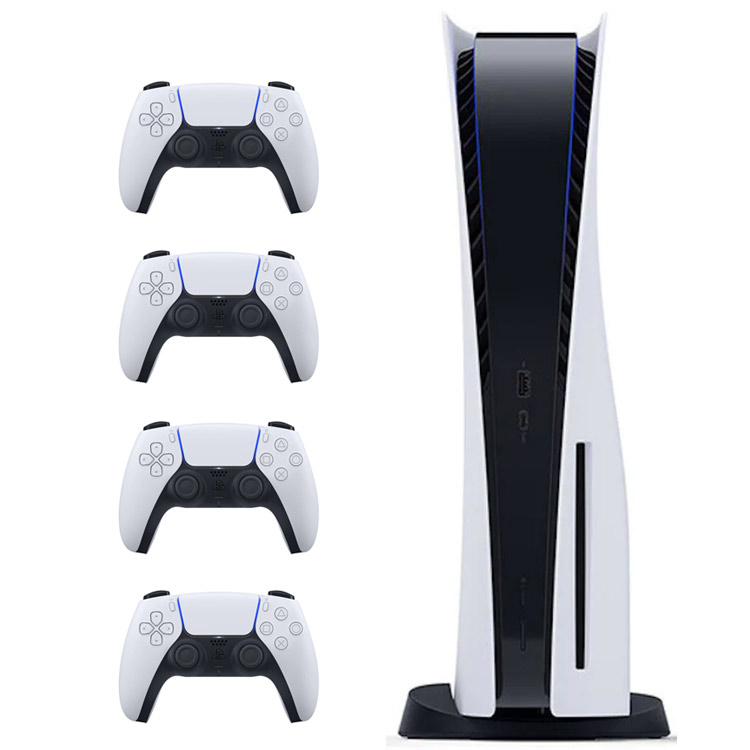 تصویر کنسول PlayStation 5 دیسک خور + سه کنترلر اضافه