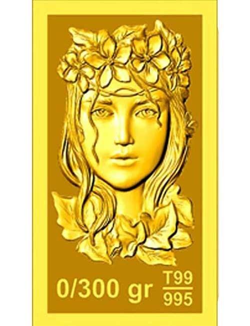 تصویر شمش طلا ۳۰۰ سوتی (۰.۳۰۰گرم ) نقش برجسته پرنیا