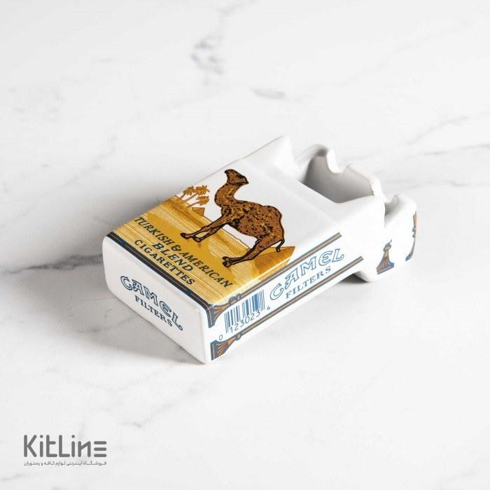 تصویر زیر سیگاری سرامیکی طرح پاکت سیگار کمل