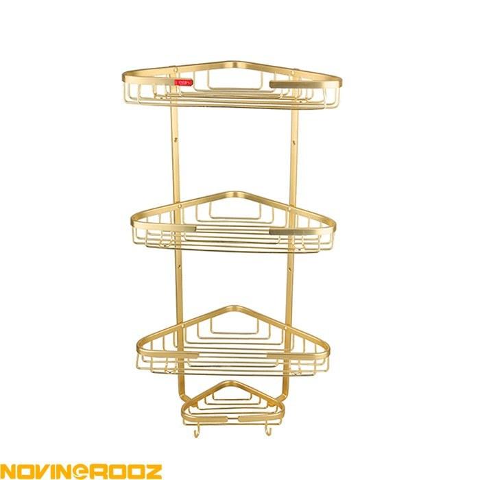 تصویر قفسه کنج وستا سه طبقه طلایی Vesta Shower Caddy