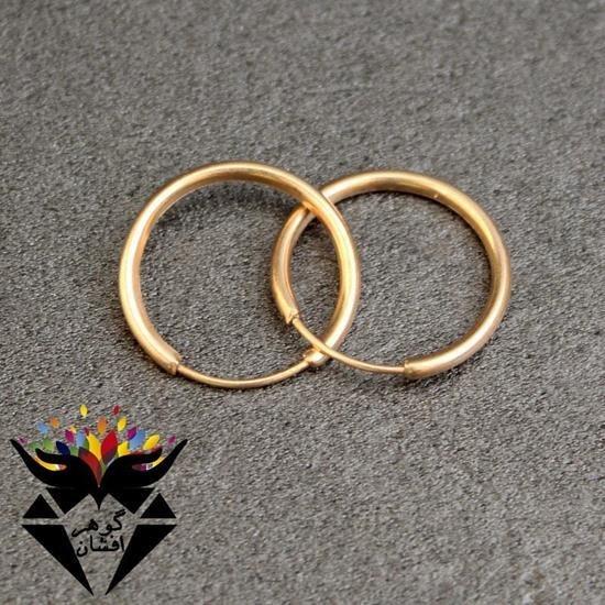تصویر گوشواره نقره حلقه ای رزگلد کدGO1072