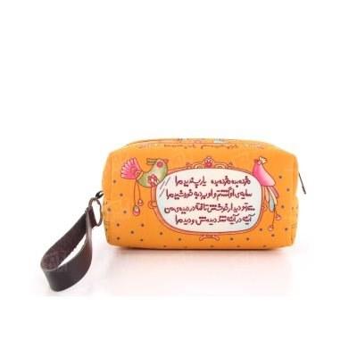 تصویر کیف لوازم آرایش مخمل نارنجی چاپی طرح مژده 