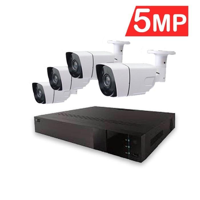 تصویر پک دوربین مداربسته ۵ مگاپیکسل Hitech Kit Pack 4CH Support 5MP and camera 5MP