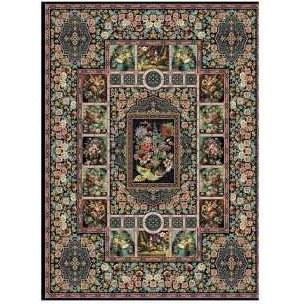 فرش ماشینی طرح باغ ارم کد ۷۲۷۲ زمینه سورمه ای |