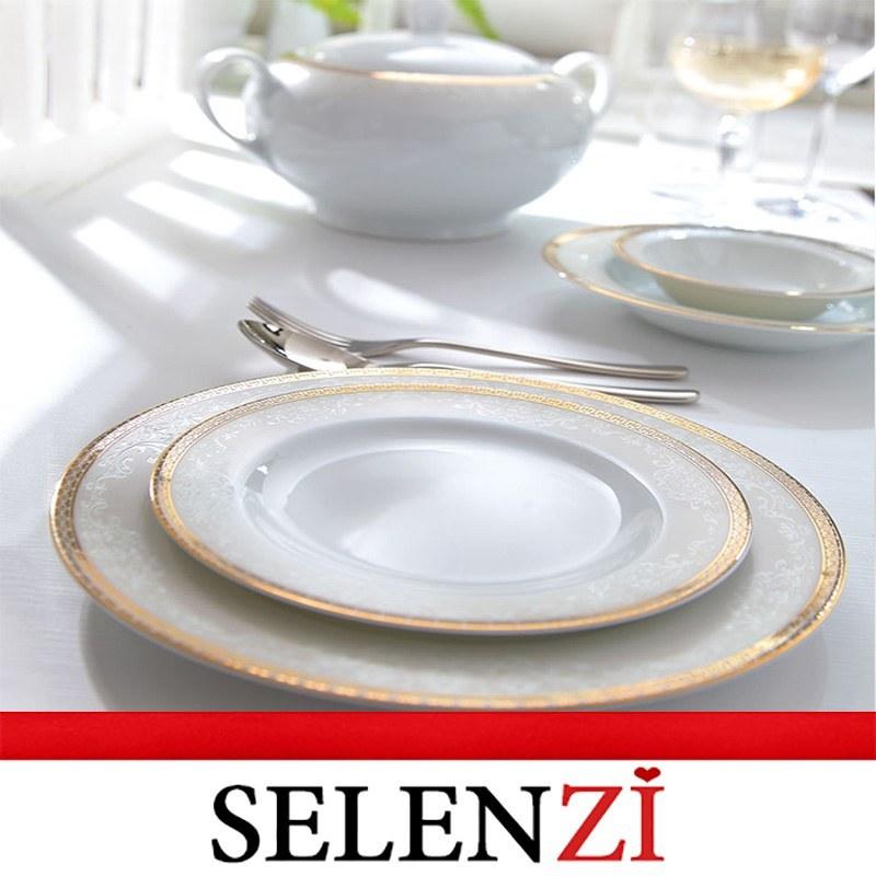 تصویر سرویس چینی زرین 12 نفره کامل ریوا طلایی (102 پارچه) Zarin Iran ItaliaF Riva Gold 102 Pieces Porcelain Dinnerware Set