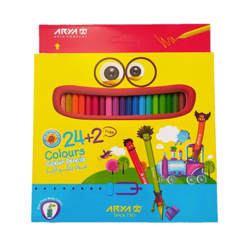 مداد رنگی آریا 2+24 رنگ مقوایی