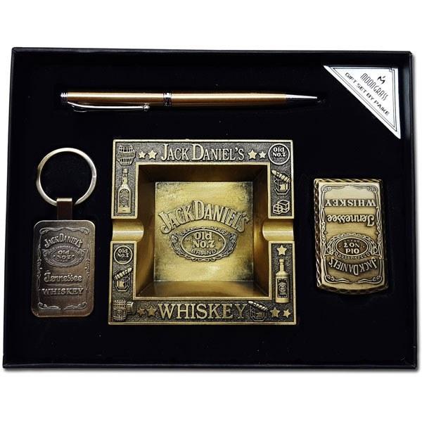 تصویر ست زیر سیگاری، فندک، جاکلیدی و خودکار جک دنیلز Jack Daniels