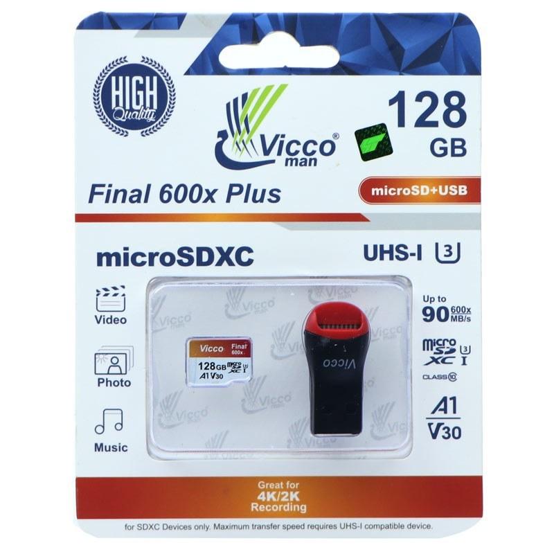 تصویر رم میکرو ۱۲۸ گیگ ویکومن Vicco Man Final 600x Plus U3 C10 90MB/s بدون خشاب + رم ریدر Vicco Man Final 600x Plus 128GB U3 C10 90MB/s MicroSDXC Memory Card With Ram Reader