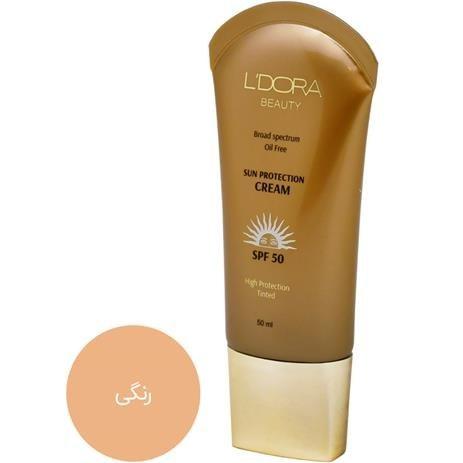 تصویر کرم ضدآفتاب رنگی و فاقد چربی SPF50 لدورا ۵۰ میلی لیتر Colored sunscreen
