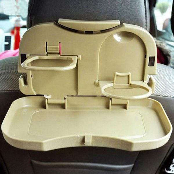 تصویر جا لیوانی و سینی جمع شونده پشت صندلی خودرو مدل هواپیمایی