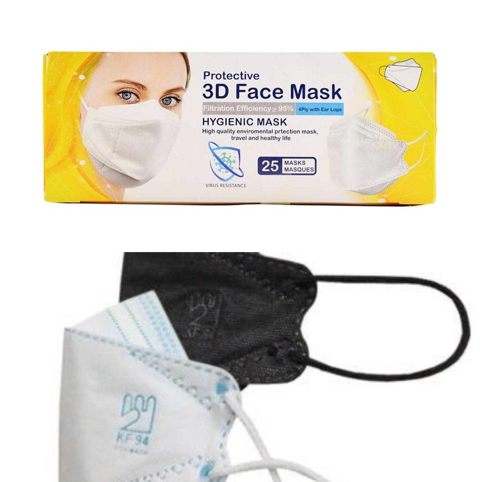 تصویر ماسک سه بعدی 5 لایه kf94 با لوگوی اصالت کالا (3D) - بسته 25 عددی
