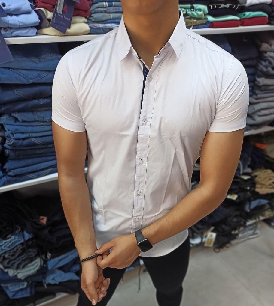 تصویر پیراهن آستین کوتاه سفید - L