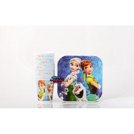 تصویر تم تولد فروزن (السا و آنا) Frozen در رنگ آبی دخترانه