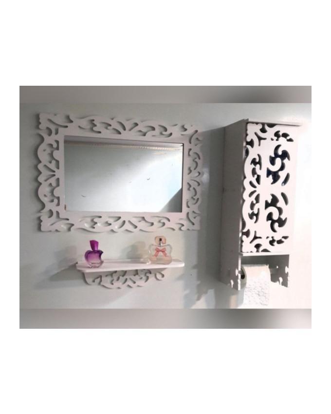 تصویر ست باکس، آینه و شلف سرویس بهداشتی
