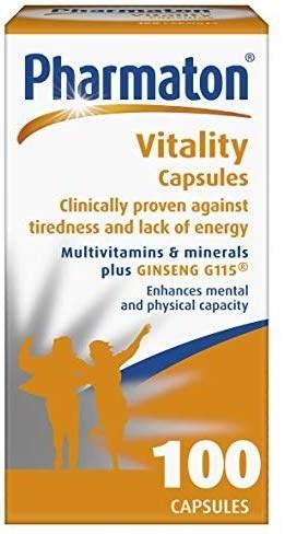 مولتی ویتامین فارماتون خارجی بسته 100 تایی   حاوی انواع ویتامین های ضروری بدن و عصاره جینسینگ   Pharmaton Vitality Capsules 100 Caps