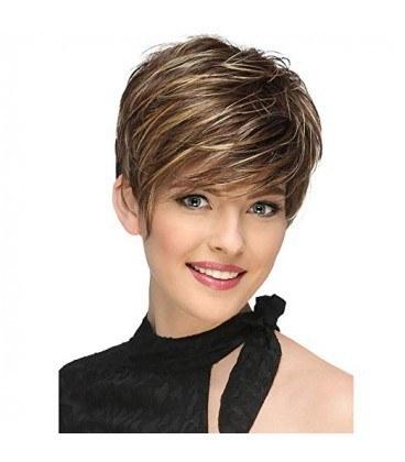 کلاه گیس زنانه لجیمی کوتاه و حالت دار به همراه کلاه طاسی LEJIMEI Short Synthetic Hair Wigs for Women |