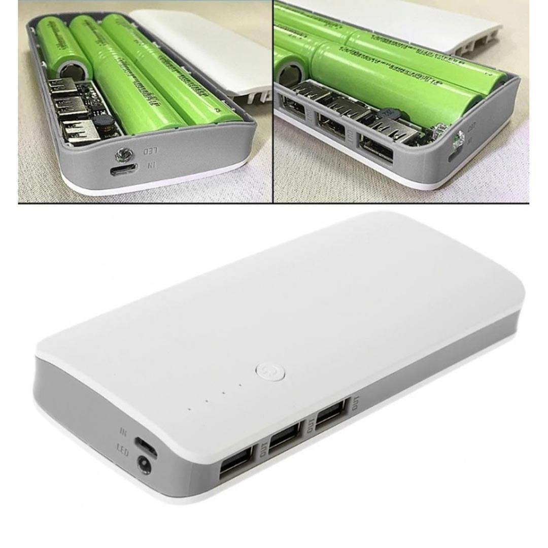 تصویر کیس پاور بانک سه خروجی USB به همراه برد 5 باتری