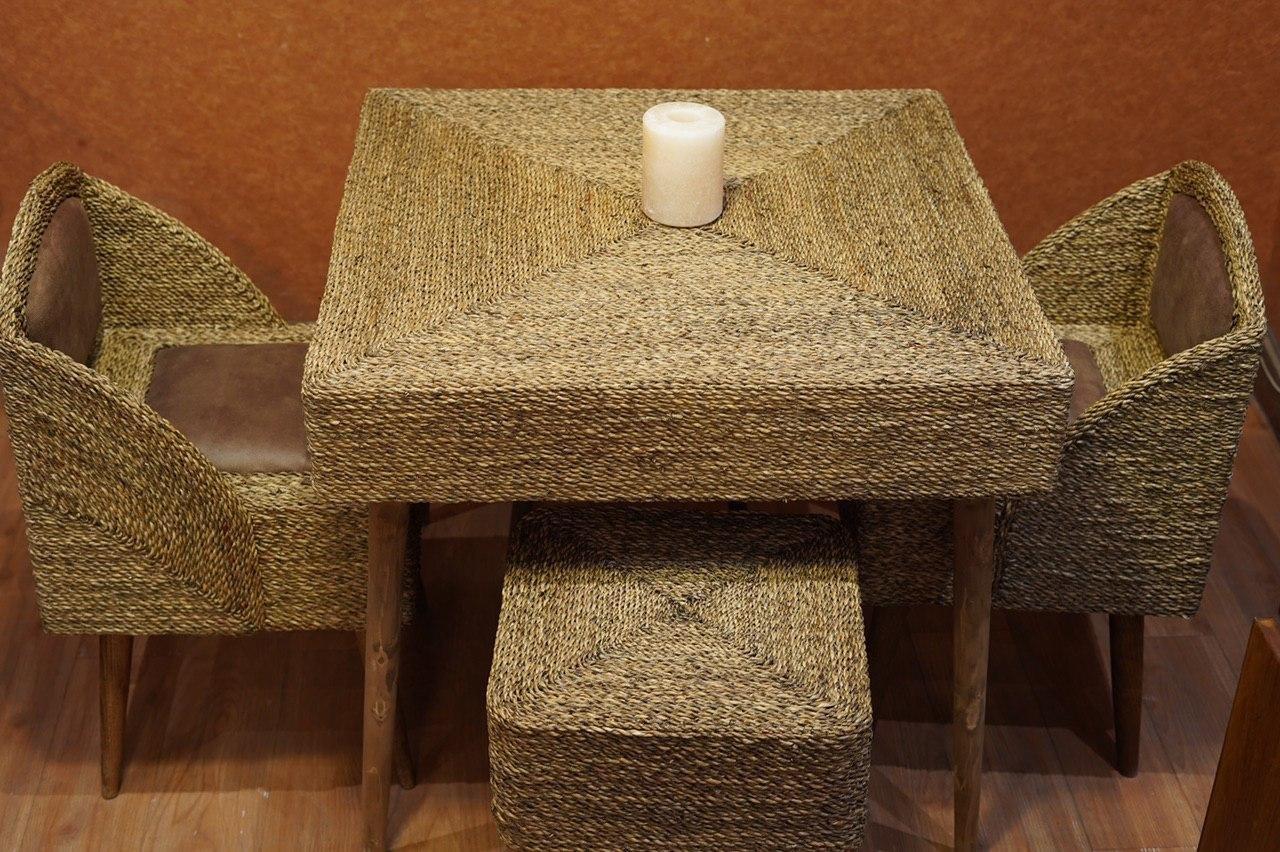تصویر میز مربع 4 نفره  حصیر بافت