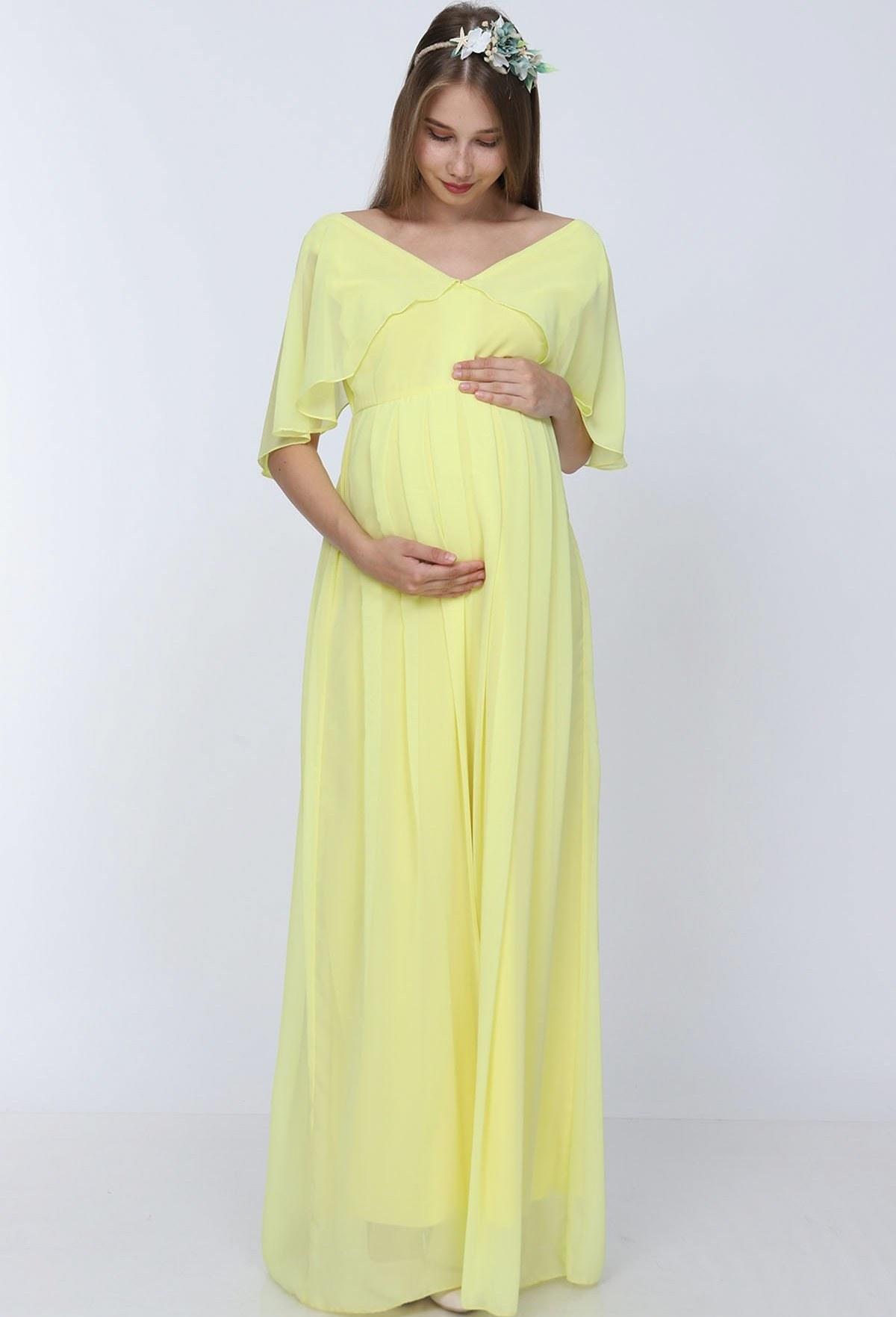 پیراهن آستین فرشته زرد برند Moda Labio کد 1608707882