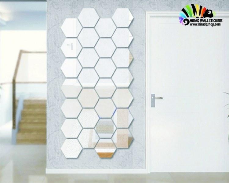 آینه تزئینی و دکوراتیو شش ضلعی طرح کندو عسل کد hpa002