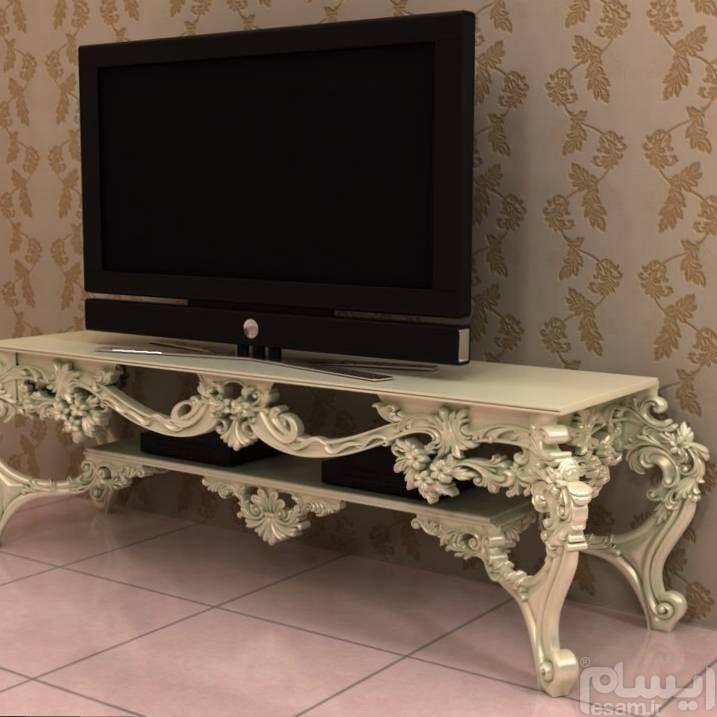 میز TV | میز TV تمام چوب منبت شده