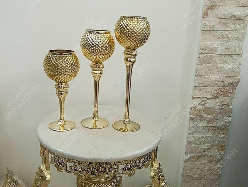 تصویر کد 506 شمعدان سه تایی طلایی