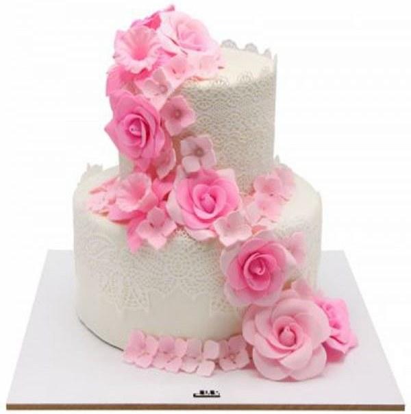 کیک عروسی گل رز صورتی |
