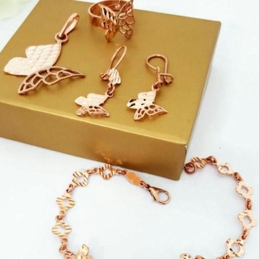 ست کامل زیورآلات مسی طرح طلا(مدل پروانه)