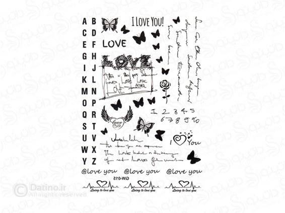 تاتو موقت نوشته دوستت دارم و پروانه tattoo-gw-12 |