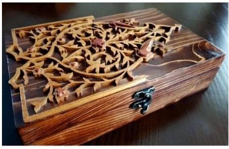 جعبه منبت و معرق تمام چوب کد ۰۱۶