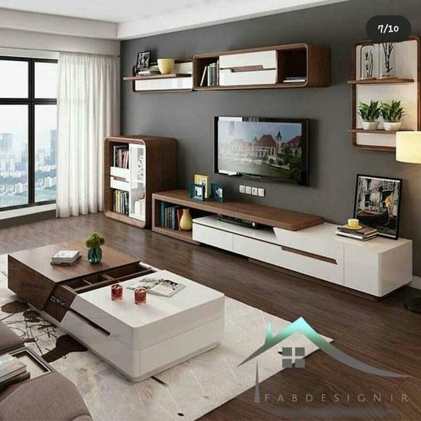 تصویر میز تلویزیون شیک و مدرن زمینی ، دیواری